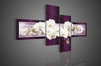 al por mayor white canvas art-pared de la manera moderna del hogar del arte pintura al óleo pintada a mano de Hi-Q decorativo flor en la lona de la mariposa blanca de la orquídea púrpura 4pcs / set enmarcada