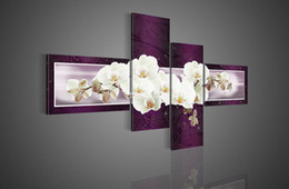 Hand-painted Hi-Q modern fashion wall art home decorative flower oil painting on canvas White butterfly Orchid purple 4pcs set framed