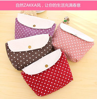 Bag fabric korea - Y607 Korea fabric Korea lovely wave point ZAKKA Cosmetic versatile clutch purse cosmetic bag admission package cases