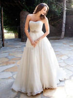 Beach Autumn/Spring Simple Wholesale - White Organza A-Line Strapless Beading and Ruffle Floor Length Grecian Style Wedding Dresses 2013