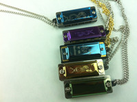 Wholesale MiniHigh quality mixed color hole tone harmonica musical instruments harmonicas necklace chain