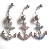 Wholesale JF J006 Belly Button Navel Rings Body Piercing Jewelry Dangle Fashion Charm CZ Stone