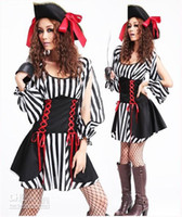 beauty bran - Bran New Hot Sale Halloween Pirate waist dress black white striped dress game Sexy uniforms role playing dress Theme Costume dress