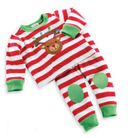 Wholesale Christmas Children clothing suit baby clothes sets long sleeve Striped Christmas pajamas Set Tracksuit cute deer pyjamas