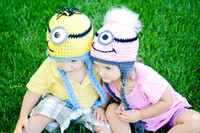Boy minion hat - Handmade Knitting children Baby cap owl hat and monkey hat Crochet Minion Monster Beanie Hat
