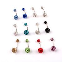 Wholesale Cute Belly Rings Crystal Disco Ball L Steel Belly Bar Navel Ring Belly Button Piercing Body Jewelry BP003