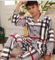 Wholesale new man s Flannel plaid suit pajamas Lattice pajamas winter home furnishing style suits cotton long sleeved autumn ZHY873G