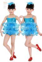 Wholesale STAR QUALITY Child Girls Showgirl Ballet Tap Dance Costume Ballroom Latin Ramba Cha Cha Samba Competition Tutu Blink Dance Dress C0083