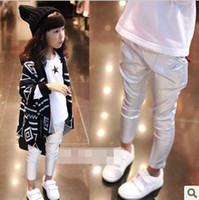 Wholesale Kid Elastic Waist Leggings Girl Pearlite Layer Silver Skinny Harem Pants Child Harown Jeans Clothing Children All Match Trendy ClothesD0001