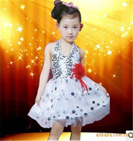 Wholesale Match Tap Jazz Ballet Tulle Dancer Dance Costume Showgirl Tutu Deep V Flower Floar Blink Layers and Ruffles of Bubblegum Skirt C0084