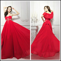 Reference Images Jewel/Bateau Chiffon 2013 New Sexy A - Line Red Chiffon Perfect Sweetheart Evening Dresses Detachable lace jacket shawl Prom dresses