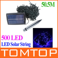 Wholesale IP44 Waterproof m LED Solar String Lights Blue lighting Christmas Wedding Party led Strip xmas Tree Decoration Fairy H9759