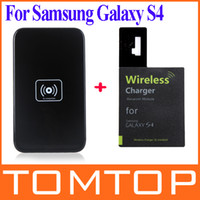 Wholesale New Qi Wireless Charger Transmitter Charging Pad Mat Plate Qi Wireless Charger Receiver for Samsung Galaxy S4 SIV i9500 PA1515B PA1468