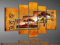 More Panel african deserts - Hand painted Hi Q modern wall art home decorative Abstract landscape oil painting on canvas African desert tree set framed