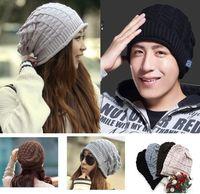 Wholesale Fashion Women amp men Solid Slouchy Baggy Color Warm Knit Hat Winter Beanie Cap