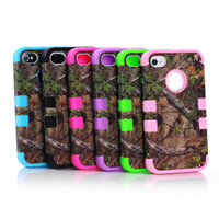 Wholesale Hybrid in Tree Hard Plastic Soft Rubber HIGH Impact CASE For iphone G S