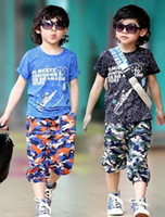 Boy Summer Short Free shipping 4sets lot 2013 Summer Print Boys T Shirt + Camouflage Shorts Teenage Boys Clothing Set Clothes Size: 120-150