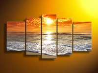More Panel Oil Painting Abstract Hand-painted Hi-Q modern wall art home decorative landscape seascape ocean oil painting on canvas Golden Sunshine Ocean 5pcs set framed