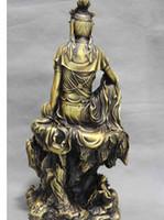 brass statue - Chinese Brass Copper comfortable Kwan Yin GuanYin Bodhisattva Sit Hill Statue
