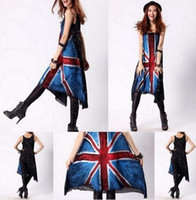 Wholesale UK British Union Jack Flag Tank Top Jumper Dress HipHop Punk Rock N Roll