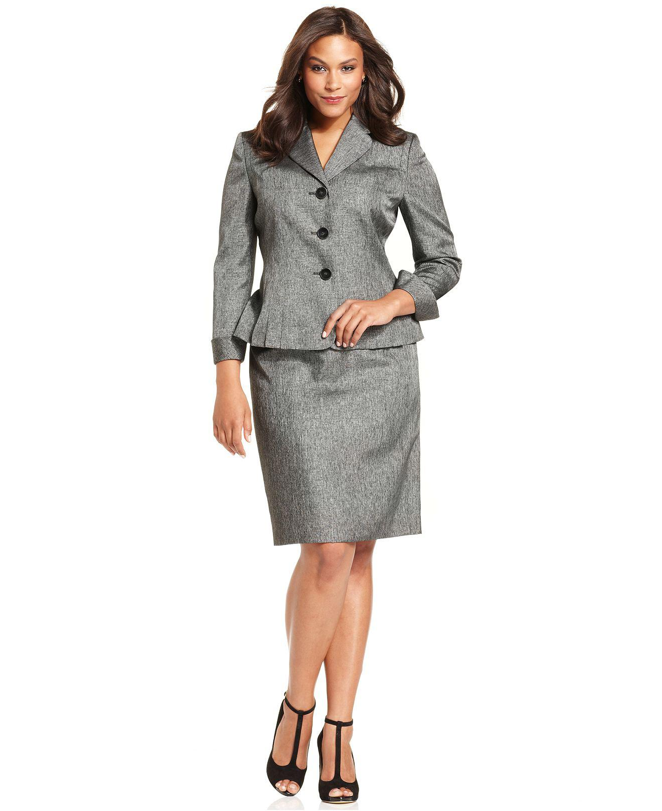 Plus Size Suit Pleated-Hem Blazer & Skirt Gray Women Suit Custom ...