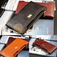 Wholesale New Woman Genuine Leather Zipper Long Slim Bifold Card Wallet Purse Colors