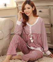 Wholesale hot sell woman s suit Cartoon printin pajamas Lattice pajamas home furnishing style suits cotton long sleeved ZHY881G