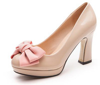 Wholesale 3 color choose Sexy Lady Bowknot PU Leather Bow Pump Platform Women s High Heels Shoes