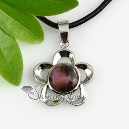 flower round quartz glass opal agate semi precious stone necklaces pendants semi precious stone necklace Spsp2192cy0