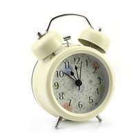 Wholesale S Cream Farm Vintage Metal Flower Leaf Twin Double Bell Desk Table Alarm Clock