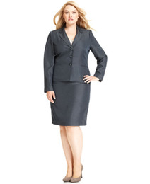 Wholesale Plus Size Skirt Suit Gray Blazer Skirt Women Business Suit Custom Made Women Suit Notch Lapel Front Button Closures Welt Pocket