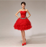 feather cocktail dress - 2013 New Classic Feather wipes bosom Tulle Luxury Crystal Short Mini Cocktail Dresses Cocktail Dresses
