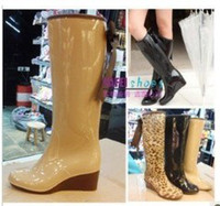 Wholesale fashion bowtie wedge heels tall boots waterproof woman wellies rain Jesus boot woman water shoes Leopard D