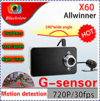 Wholesale HK Shipping Vehicle Dash Cam Recorder Video X60 Dual Lens Car DVR Camera with LCD HD P IR Night Vision Degree Ultra Wide Angle