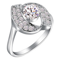 Wholesale Lowest cheap price sterling Silver fashion charm gift clear Austrian CZ Crystal Beautiful Cute pretty Lovely ring jewelry J220