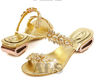 Wholesale new arrival women lady s summer shoes shine rhinestone sandals flats shoes flip flops black gold D