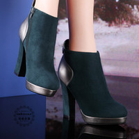 Ankle Boots Rivet Boots Women China Brand MOOLECOLE X806-28 Fashion Green Ankle Boots Women New Winter Warm Shoes 2014 Hotsale Platform Pumps Cheap High Heels Shoes BNIB