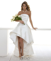 Wholesale 2013 New Wedding Dresses Strapless Neckline A Line Satin Hi Lo Bridal Dresses Le Spose Di Gio Z1756