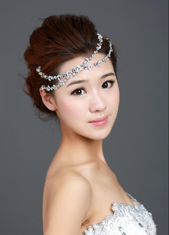 Bridal diamond ribbon flowers hair accessories wedding for Bridesmaid jewelry sets under 20