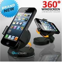 Wholesale 360 Degree Mini Windscreen Car Universal Mount Holder Stand Cradle For iPod iPhone S G HTC PDA GPS all Cell Phone retail package