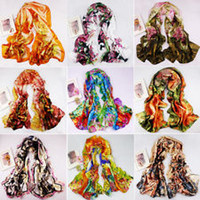 Wholesale hot New Women s Fashion Satin oil painting Long Wrap Shawl Beach Silk Scarf