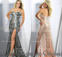 Wholesale 2014 Sexy Sheath Pageant Dresses Strapless Sweetheart Sleeveless Crystals Leopard Print Side slit Backless Long Satin Prom Dresses BO2300