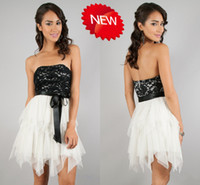 A-Line Tulle Sexy Fitted!Sexy Cheap Cocktail Dresses Strapless A-Line Short Backless Lace Applique Sash Homecoming Dresses