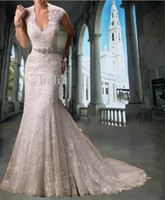 Wholesale HOT SELL Ivory Lace V neck Cap Sleeve Wedding Dress Mermaid Bead Sash Bridal Gown Dresses