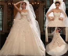 Wholesale 2013 zuhair murad real picture sweetheart lace crystal with veil ball gown wedding dresses