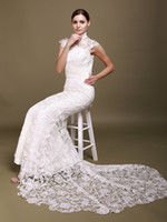 Wholesale Custom made High Collar Short Sleeves Open Back Lace Sheath Cheongsam Wedding Dresses mermaid bridal gown HST001