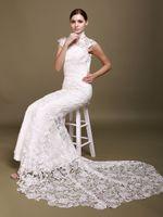 Wholesale Custom made High Collar Short Sleeves Open Back Lace Sheath Cheongsam Wedding Dresses mermaid bridal gown HST001