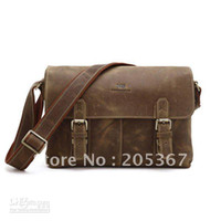 Wholesale Crazy Horse Leather Men s Brown Shoulder Messenger Bag Crossbody B