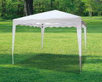 Wholesale Folding Metal Gazebo m Polyester w Waving Eave w Ropes and Ground Pins Color White