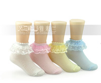 2T-3T trimmings - 2013 Children Toddler Kids White Lace Princess Trim Retro Pastoral style Lace cuffs Anklet Girls Cotton Socks C0098